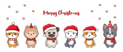 Cute dog family greeting merry christmas cartoon doodle card background illustration vector