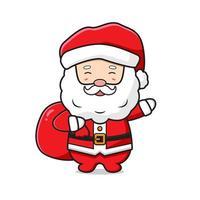 lindo santa claus con un saco de regalos feliz navidad dibujos animados doodle icono ilustración vector
