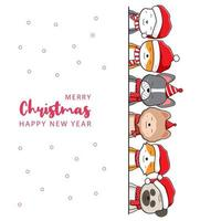 Cute dog family greeting merry christmas and happy new year cartoon doodle card background illustration vector