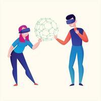 virtual reality cartoon vector illustration