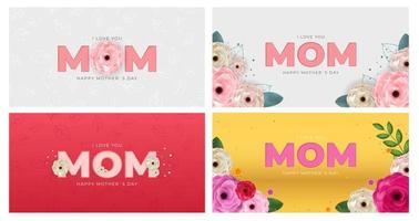 I love you mom. Happy Mother's Day background greeting card collection set. Vector Illustration