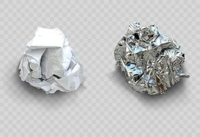 Set of crumpled sheets of paper and foil vector