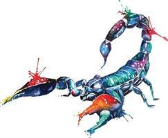 Watercolor scorpion.Exotic scorpion wild insect style fantasy. Astrology Scorpio zodiac sign.Dangerous poisonous animals. vector