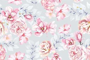 Seamless pattern of magnolia drawn with watercolor.For the design of the wallpaper or fabric, vintage style.Blooming flower painting for summer.Botany background. vector