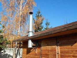 Installing a wood burning stove, chimney photo