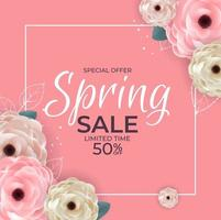 Spring Special Offer Sale Background Poster Natural Flowers and Leaves Template. Vector Illustration