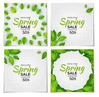 Natural Light Spring Sale Collection Set Poster Banner Background with Green Sunny Leaves. Template Set for advertising, web, social media and fashion ads. Vector Illustration. EPS10