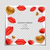 plantilla de marco de fotos de fondo de vacaciones. concepto de amor del día de San Valentín para publicar en la red social. ilustración vectorial eps10 vector