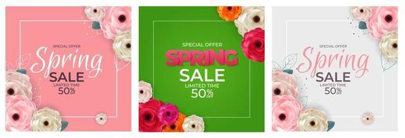 Spring Special Offer Sale Background Poster Natural Flowers and Leaves Template Poster Set. Vector Illustration