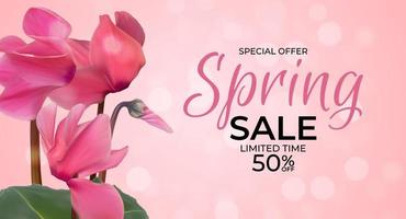 Spring Special Offer Sale Background Poster Natural Cyclamen Flowers and Leaves Template. Vector Illustration