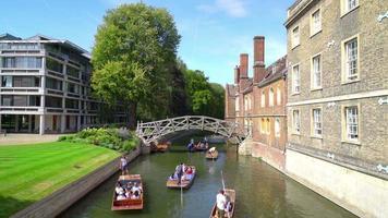Mathematic Bridge with River Cam in Cambridge, UK video