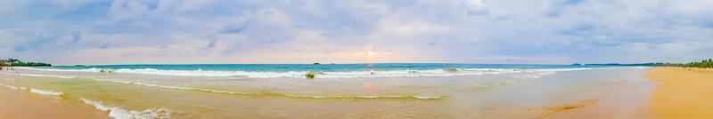 Beautiful colorful sunset landscape panorama from Bentota Beach Sri Lanka photo