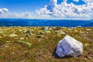 Big white rock in amazing norwegian landscape Vang Norway photo