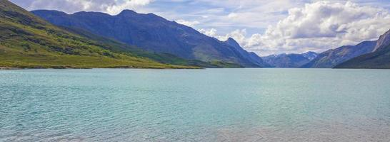 Increíble besseggen mountain ridge lago turquesa paisaje panorámico en Noruega foto