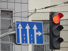 Road signs indicating the direction of movement of cars and pedestrians photo