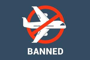 crossed out airplane. cancellation of air traffic between countries. vector