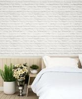 Bedroom and wall decorate in apartment or house photo