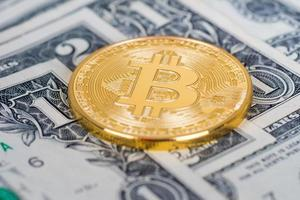 bitcoin golden coin with dollars banknotes photo