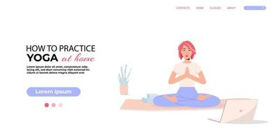 Vector banner. Online classes. Asian yoga girl isolated on the white background.