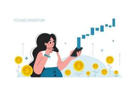 The girl with a mobile phone, stock market investment, growth, income money, rising rate, profit, young generation. Flat style vector illustration.