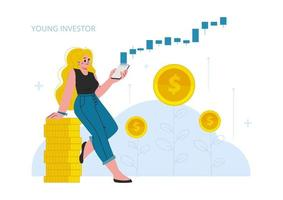 The woman invest in stock market, growth, income money, rising rate, profit, young generation.Modern flat vector illustration.