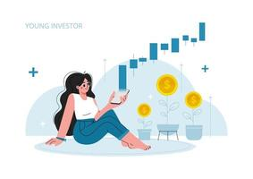 the girl sits on the floor and looks at her phone, stock market investment, growth, income money, rising rate, profit, young generation.vector illustration. vector