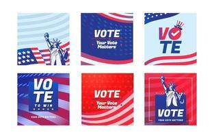 plantilla de redes sociales de las elecciones generales de américa vector