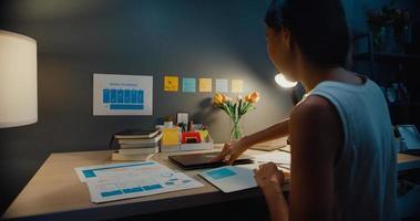 Joven mujer de negocios de Asia autónoma computadora portátil abierta preparándose para comenzar a trabajar en el escritorio de madera en la sala de estar en la noche de la casa. trabajar desde casa, de forma remota, cuarentena a distancia social por coronavirus. foto