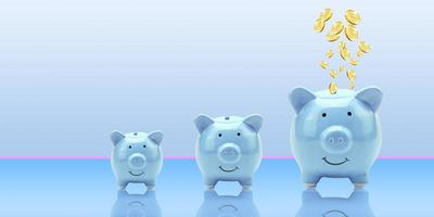 Monedas de renderizado 3D que vuelan y flotan a la hucha para un concepto de depósito financiero creativo con espacio de copia, negocios o finanzas, ahorro de dinero, finanzas y monedas publicitarias bancarias foto