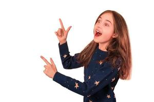 Little girl with positive emotion isolated on white background. discount concept and black friday. photo