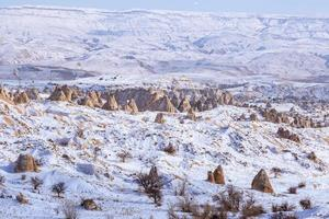 Volcanic rock landscape of Fairy tale chimneys in Cappadocia with blue sky on background photo