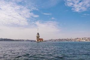 Maiden's Tower in Istanbul. Tower is one of the most well-known symbols of Istanbul. Blue sky and natural white clouds photo