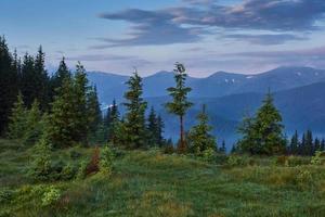 viajes, trekking. paisaje de verano - montañas, hierba verde, árboles y cielo azul foto