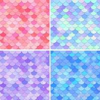 Set of fish scale seamless pattern background vector