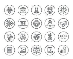 startup line icons set, product launch, project funding, initial capital, contract, ipo and vector
