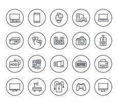 gadgets, modern devices line icons on white, action camera, portable power bank, smart watch, external hard drive, vr headset, wireless speaker, game console and controller vector