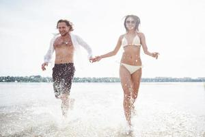 steam running along the water, beautiful summer beach photo