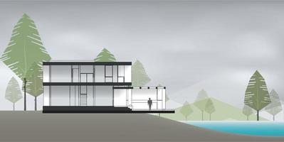 Section of modern house with lake and green natural area background. Vector. vector
