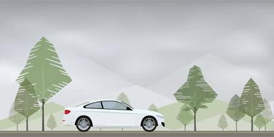 Car on the road with green natural area background. Vector. vector