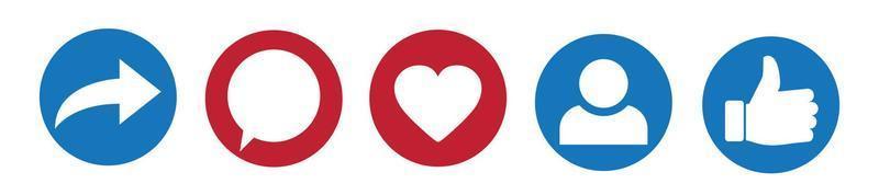 los iconos de redes sociales pulgar hacia arriba y el icono del corazón con volver a publicar y comentar. iconos de señales planas sobre fondo blanco. vector