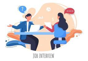 reunión de entrevista de trabajo, candidato y gerente de recursos humanos. idea de empleo y contratación, hombre o mujer de negocios en la mesa, ilustración vectorial para conversación, carrera, concepto de recursos humanos vector