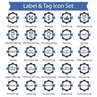 Label and Tag icon set vector