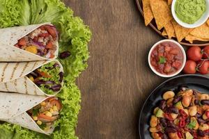 top view delicious mexican food ready be served photo