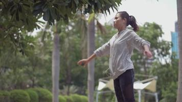 Sport woman stretching before running workout. video