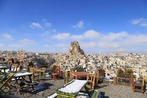 Panaromic cityscape of Ortahisar town and castle on winter. Ancient Ortahisar Castle in Cappadocia, in the central Turkey is a major landmark. photo
