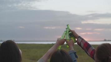Young teen Asian woman happy friends camping in nature having fun together drinking beer and clinking glasses. video