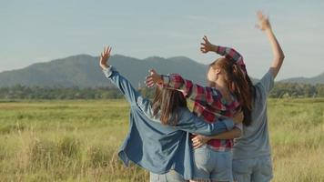 Group of a young Asian women looks to view the mountain and having fun together a summer traveling. video