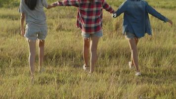 Group of a young Asian woman holding hands walking having fun together a summer traveling. video