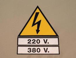 Señal de advertencia peligro de alta tensión foto