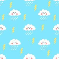 Cute Cartoon Cloud And Rain Seamless Pattern vector